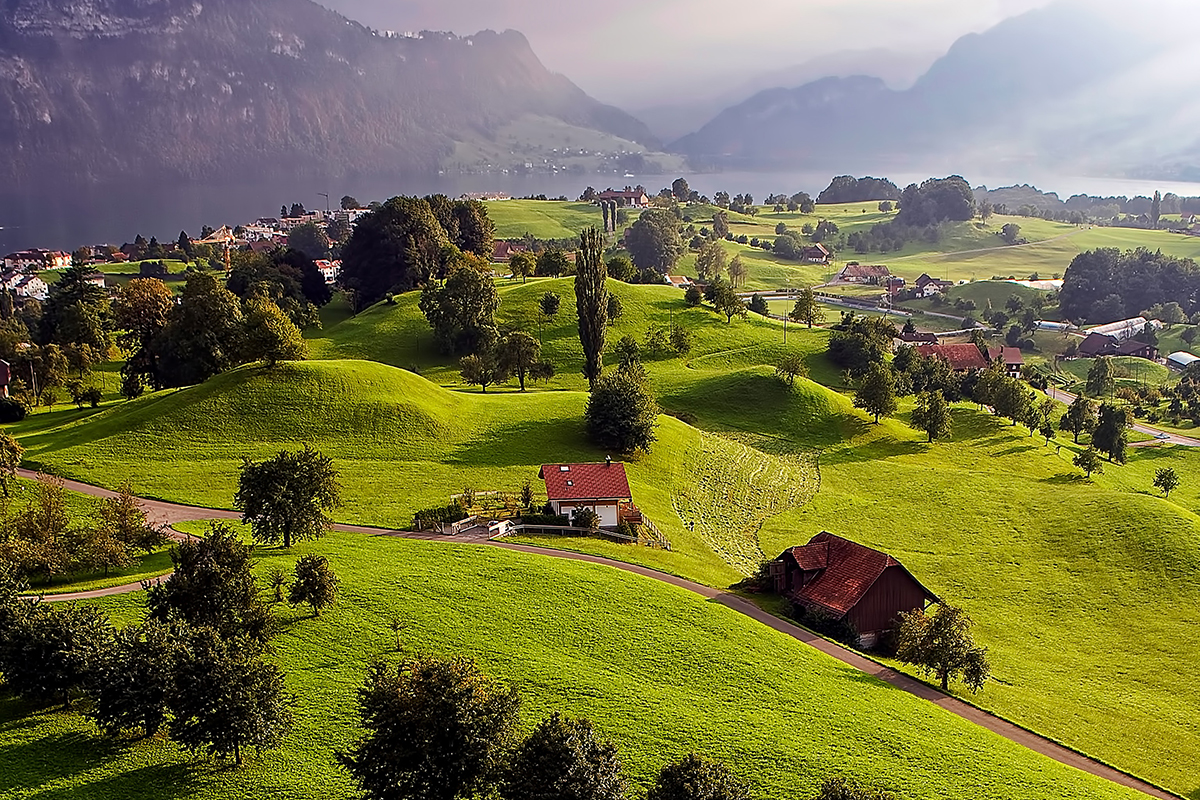 Grass and Tree Covered Village Luzern